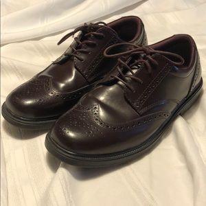 NUNN BUSH size 11 dark brown wing tip dress shoes